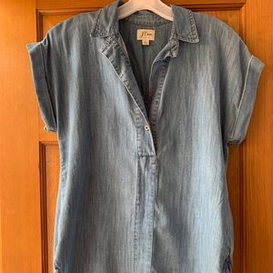 J.Crew Chambray Short Sleeve Pop-Over